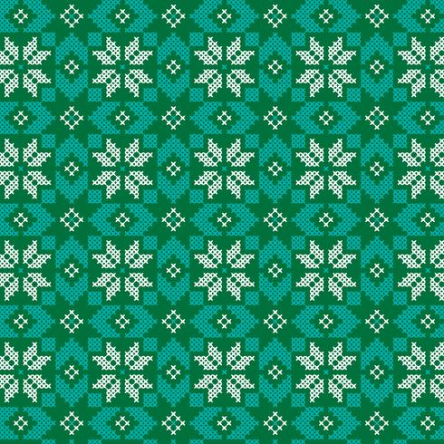 embroidered nordic green and turquoise pattern