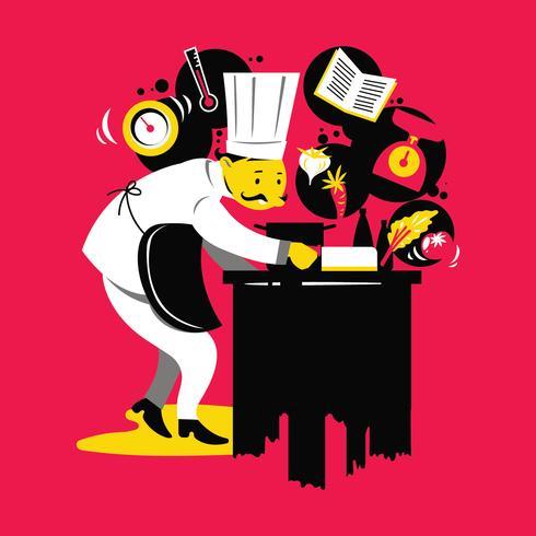 Chef-koks koken, snijden en bereiden volgende bord
