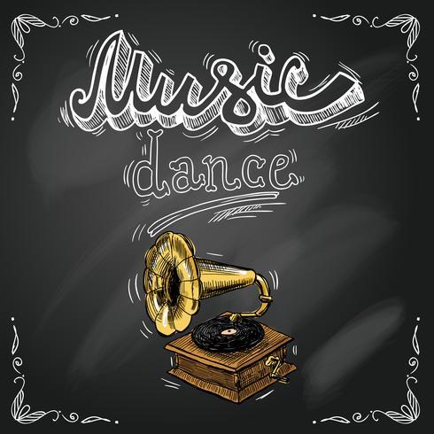 Cartel retro gramófono vintage