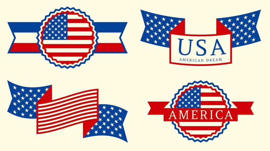 Increíble bandera americana set vector