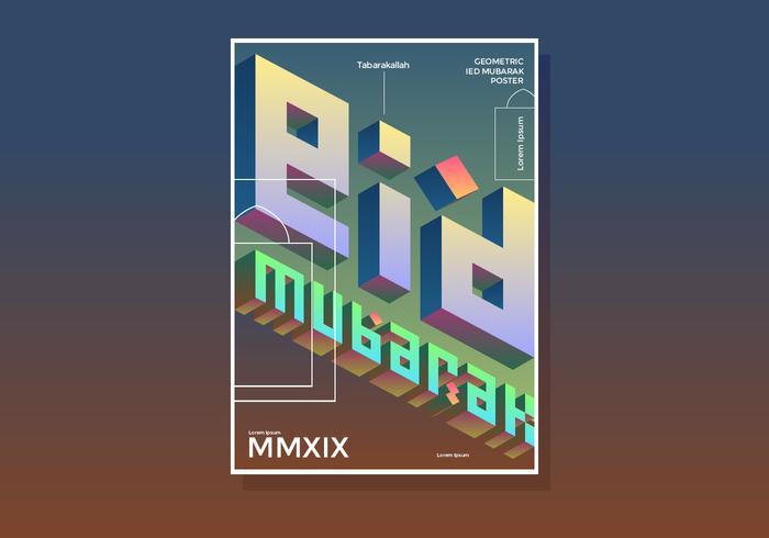Cartaz geométrico de Eid Mubarak