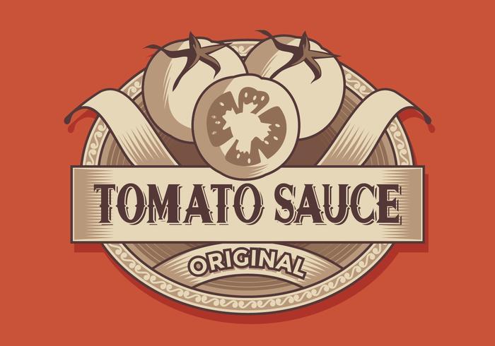 Tomatensaus Retro Label Vector