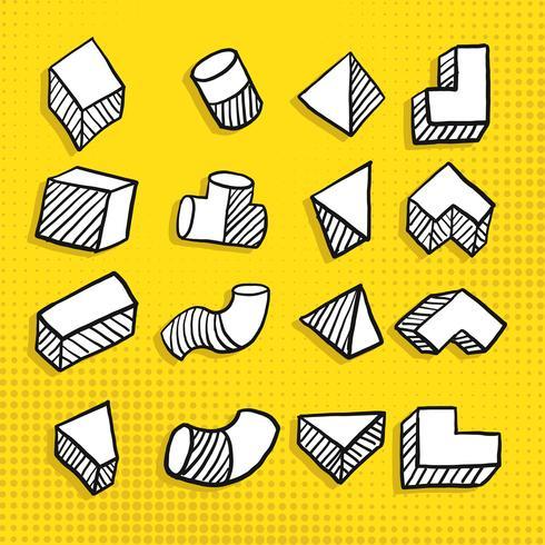 Übergeben Sie gezogene einfache geometrische Form in der unterschiedlichen Ansicht des Quadrats, des Prismas, des Rohrs u. Des trapezförmigen Vektors