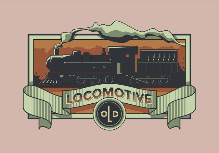Locomotora antigua etiqueta retro vector
