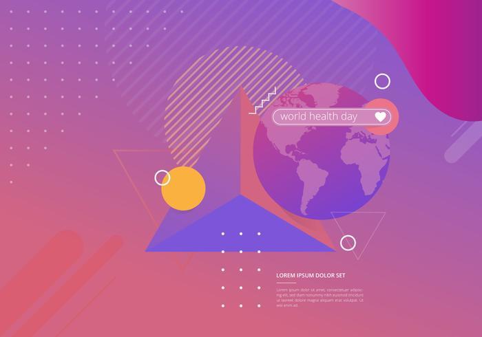 Wereldgezondheidsdag in geometrische vormen illustratie