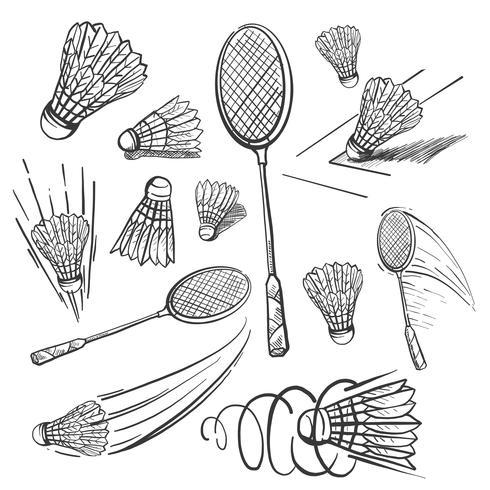 Hand drawn Sketch Badminton Icon set