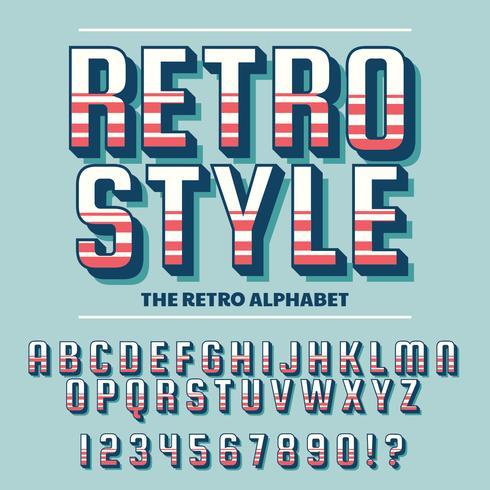 Vector van Retro lettertype en alfabet