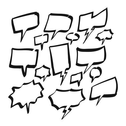 Hand drawn Blank Bubble Speech, Comic speech, or Cartoon speech set