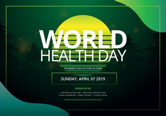 Día Mundial de la Salud en la ilustración del líquido Newwave de Retrowave