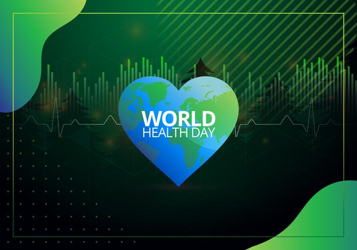 World Health Day in Retrowave and Geometric Shape Illustration
