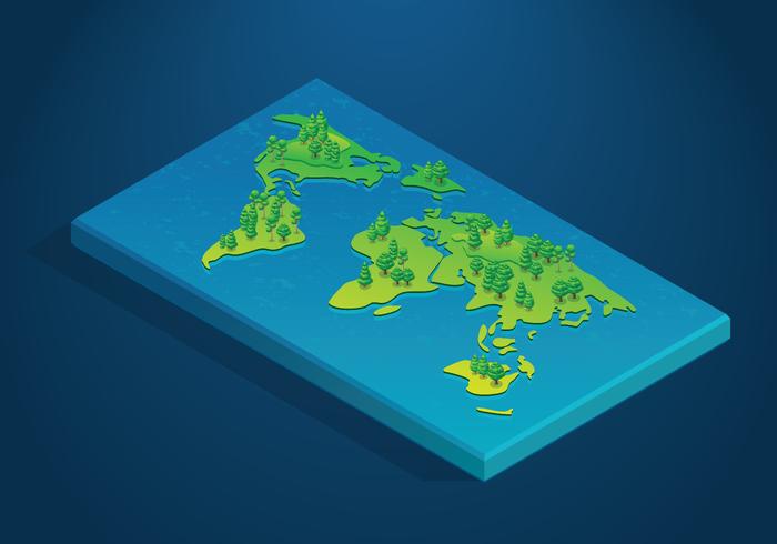Mapa isométrico internacional 3D