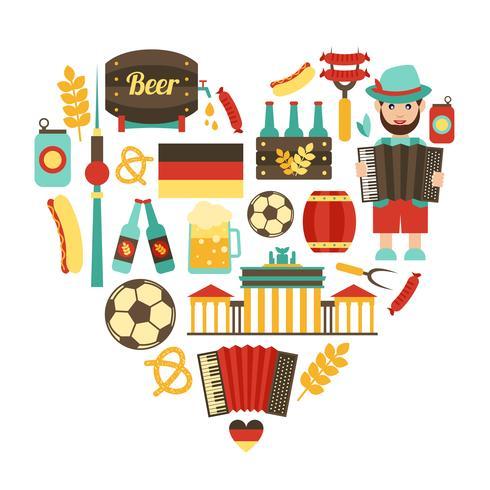 Deutschland Reisen Herz gesetzt vektor