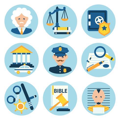 Iconos de la policía de justicia ley vector