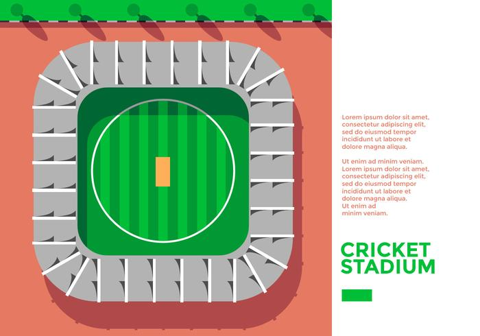 Cricket Stadion Bovenaanzicht Vector