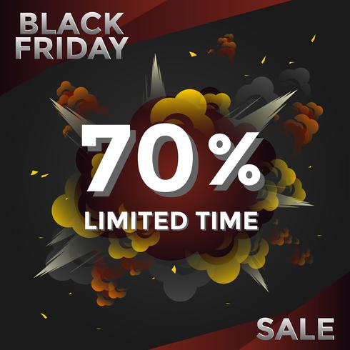 Explosion Black Friday Limited TIme Media Post Vector