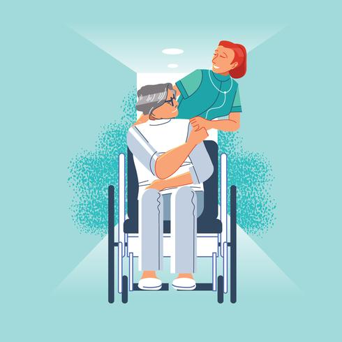 Heureux patient tient la main du soignant vecteur