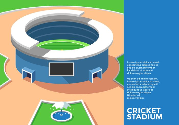 Isometric Cricket Stadium Vector