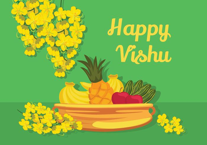 Glad Vishu Vector Illustration