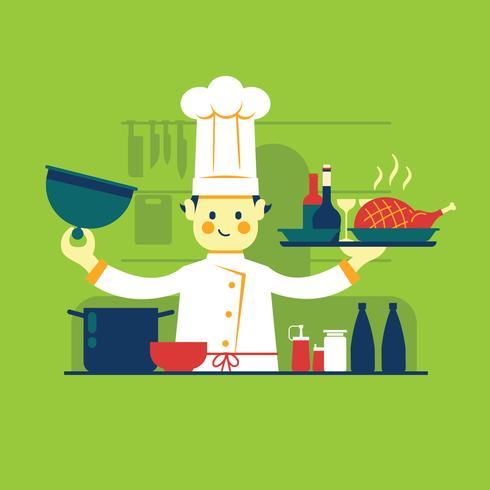 Chef-kok bereidt gebraden kip