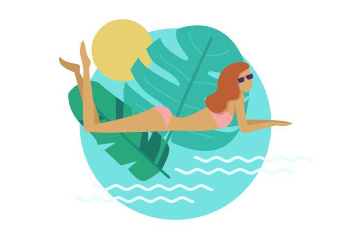 Woman Sunbathe Vector Art