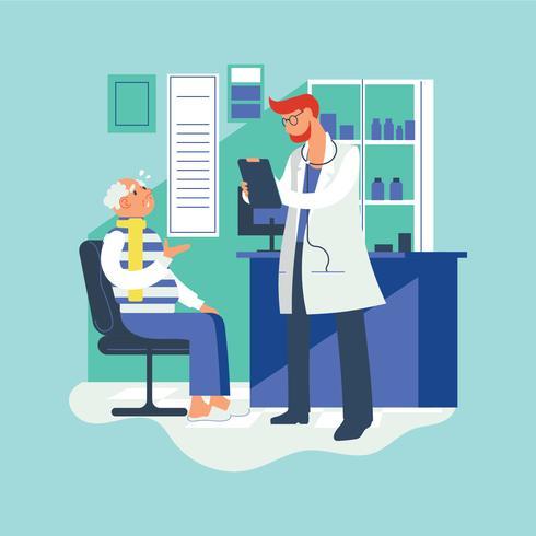 Paciente mayor que tiene consulta con el doctor