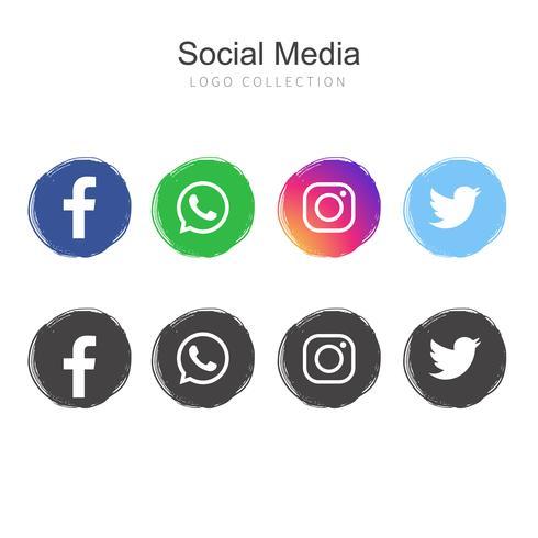 Populär Social Media logo samling vektor