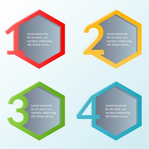 Modelo de infográfico de quatro etapas ou diagrama de fluxo de trabalho