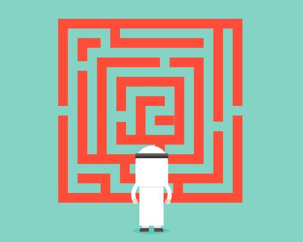 Arabischer Geschäftsmannblick auf Labyrinth, analysiert und Lösungskonzept