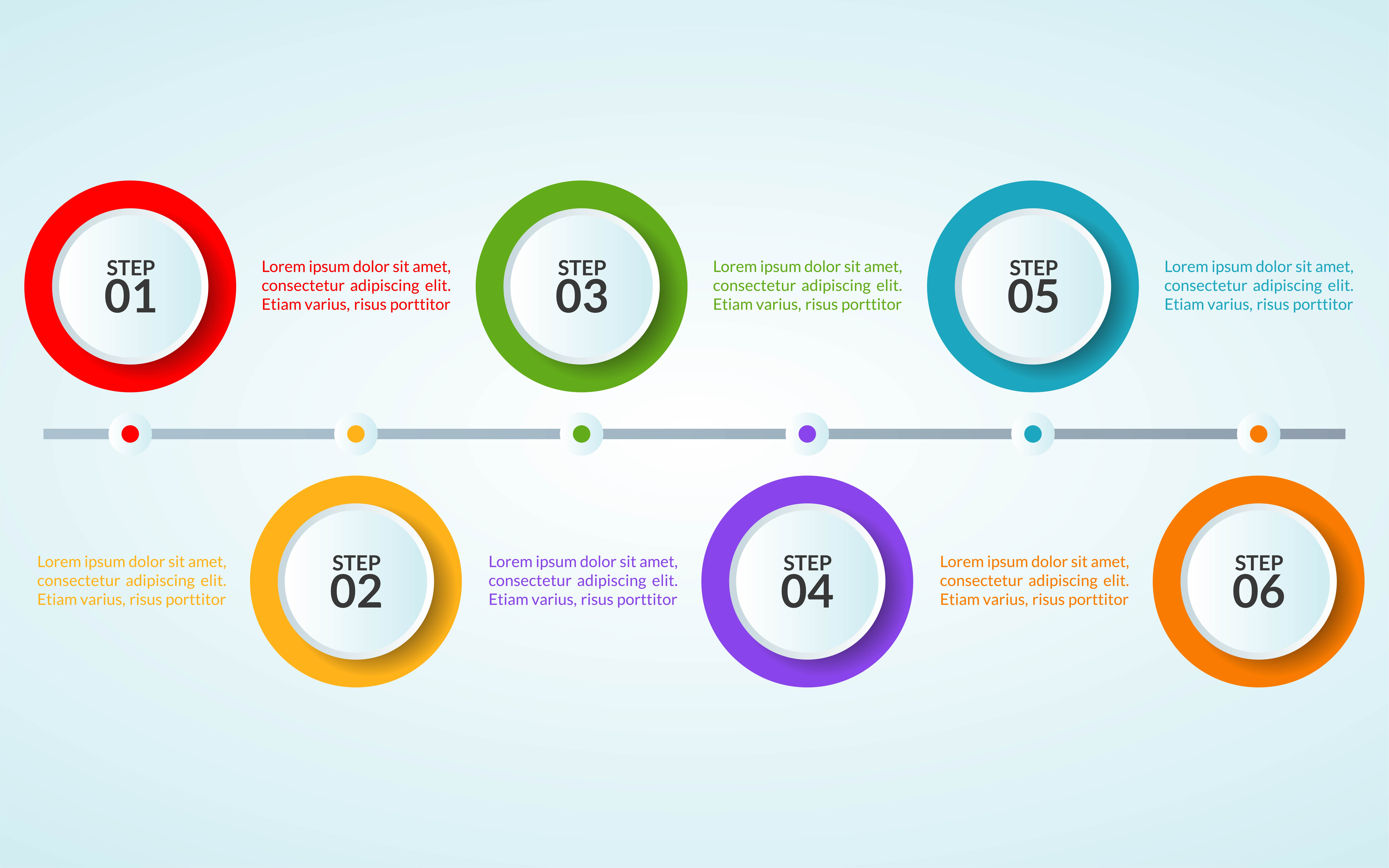infographic template of step or workflow diagram poster