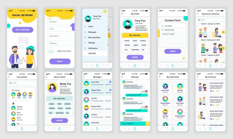 El conjunto de UI, UX, GUI muestra la plantilla de diseño plano de la aplicación de redes sociales para aplicaciones móviles, sitios web receptivos. Diseño web kit de interfaz de usuario. Panel de redes sociales. vector