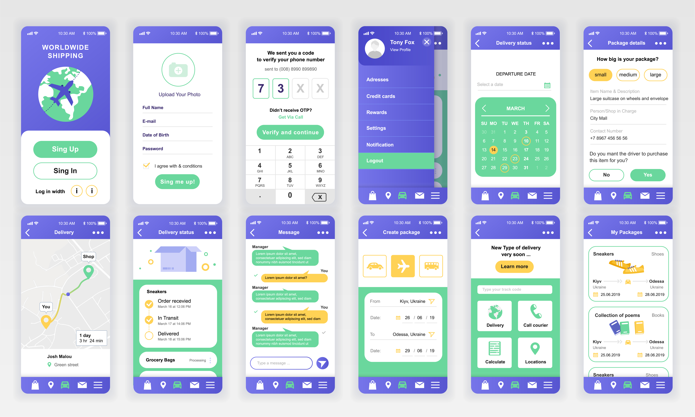 set of ui  ux  gui screens delivery app flat design