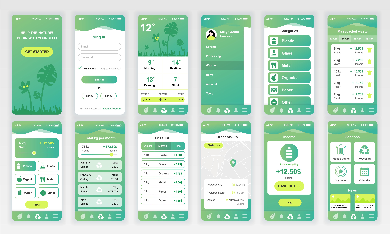 set of ui  ux  gui screens ecology app flat design