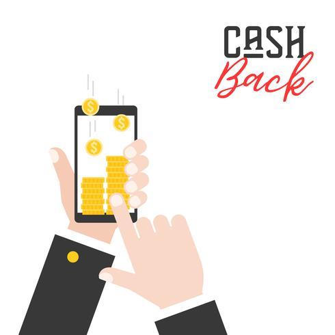 Geschäftshand, die intelligentes Telefon hält und Geld von der Anwendung zurückbekommen