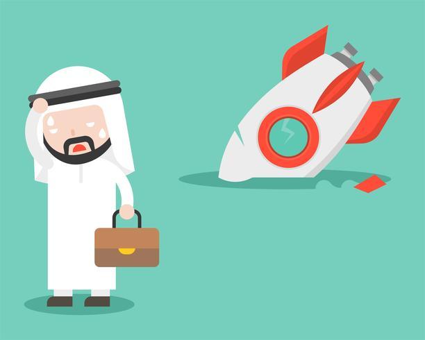 Empresário árabe com foguete quebrado, design plano, conceito mal sucedido