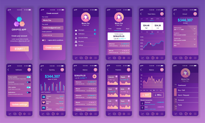 set of ui  ux  gui screens cryptocurrency app flat design