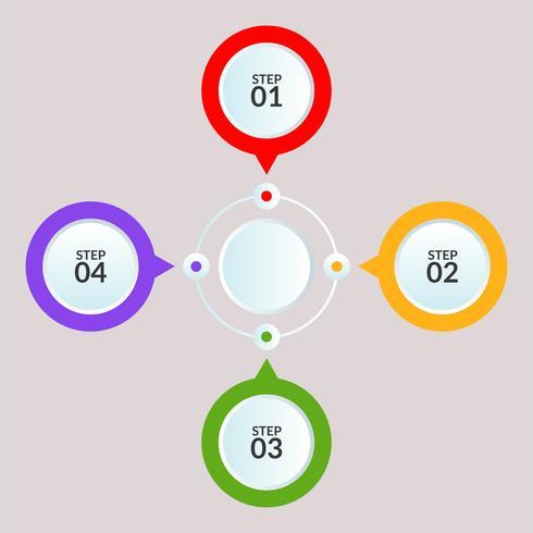 Plantilla de infografía de conexión de círculo para uso en cartel de diagrama de flujo de trabajo vector