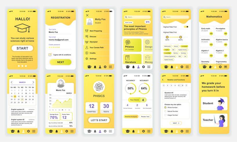 Conjunto de UI, UX, telas de GUI Educação app design plano modelo para aplicativos móveis, wireframes site responsivo. Kit de interface do usuário de Web design. Painel de educação.