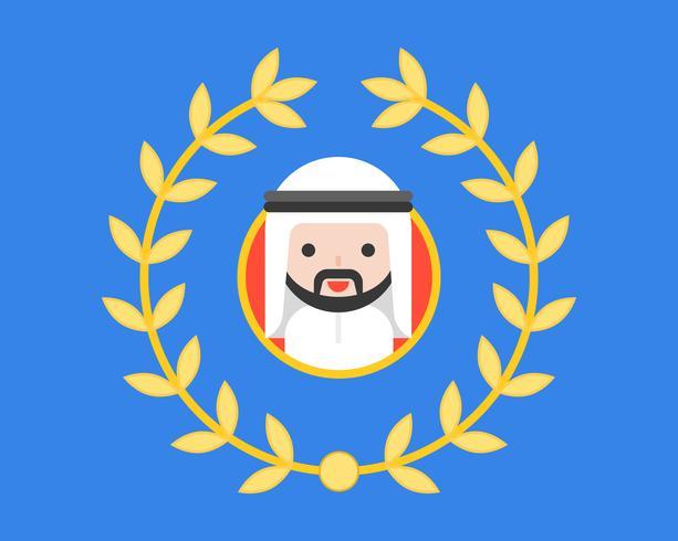 Empresario árabe en marco de círculo y corona