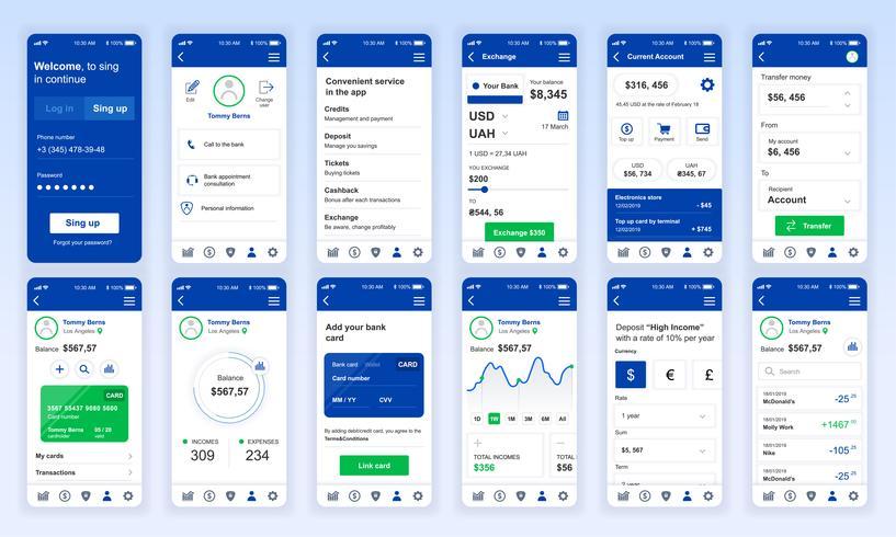 Conjunto de UI, UX, pantallas GUI Plantilla de diseño plano de la aplicación de banca para aplicaciones móviles, sitios web de alambre adaptables. Diseño web kit de interfaz de usuario. Panel bancario. vector