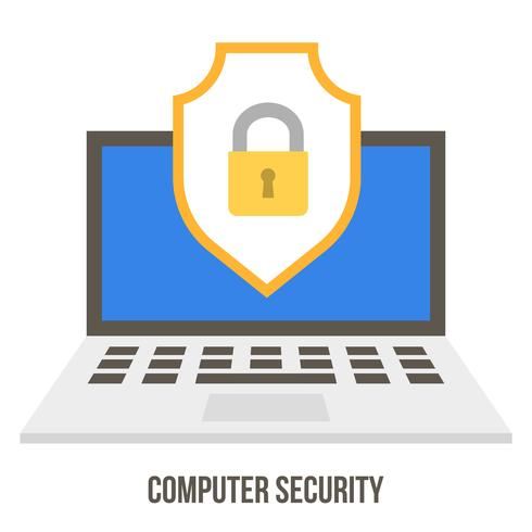 Lock and badge on laptop screen, data security concept  vector