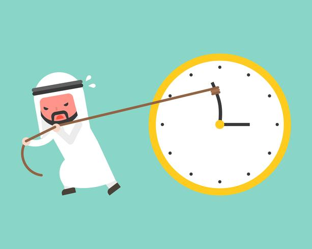 Arab businessman try hard to pull back minute hand anti clockwise by rope vector