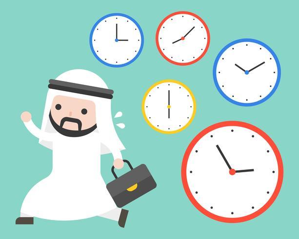 Arab businessman running in rush hours and clocks