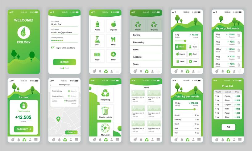 Set van UI, UX, GUI-schermen Ecologie app platte ontwerpsjabloon voor mobiele apps, responsieve website wireframes. UI-kit voor webontwerp. Ecologie Dashboard.