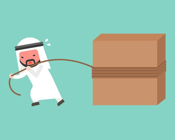 Arab Businessman work hard, pulling block with rope vector