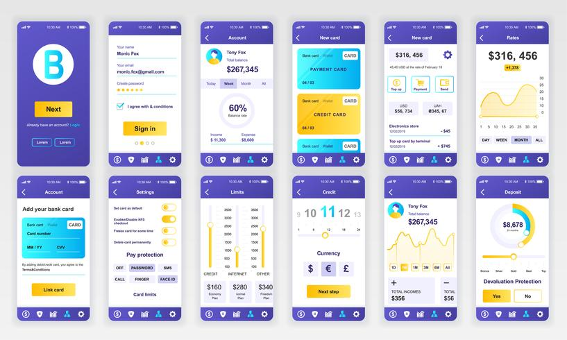 Conjunto de UI, UX, pantallas GUI Plantilla de diseño plano de la aplicación de banca para aplicaciones móviles, sitios web de alambre adaptables. Diseño web kit de interfaz de usuario. Panel bancario.