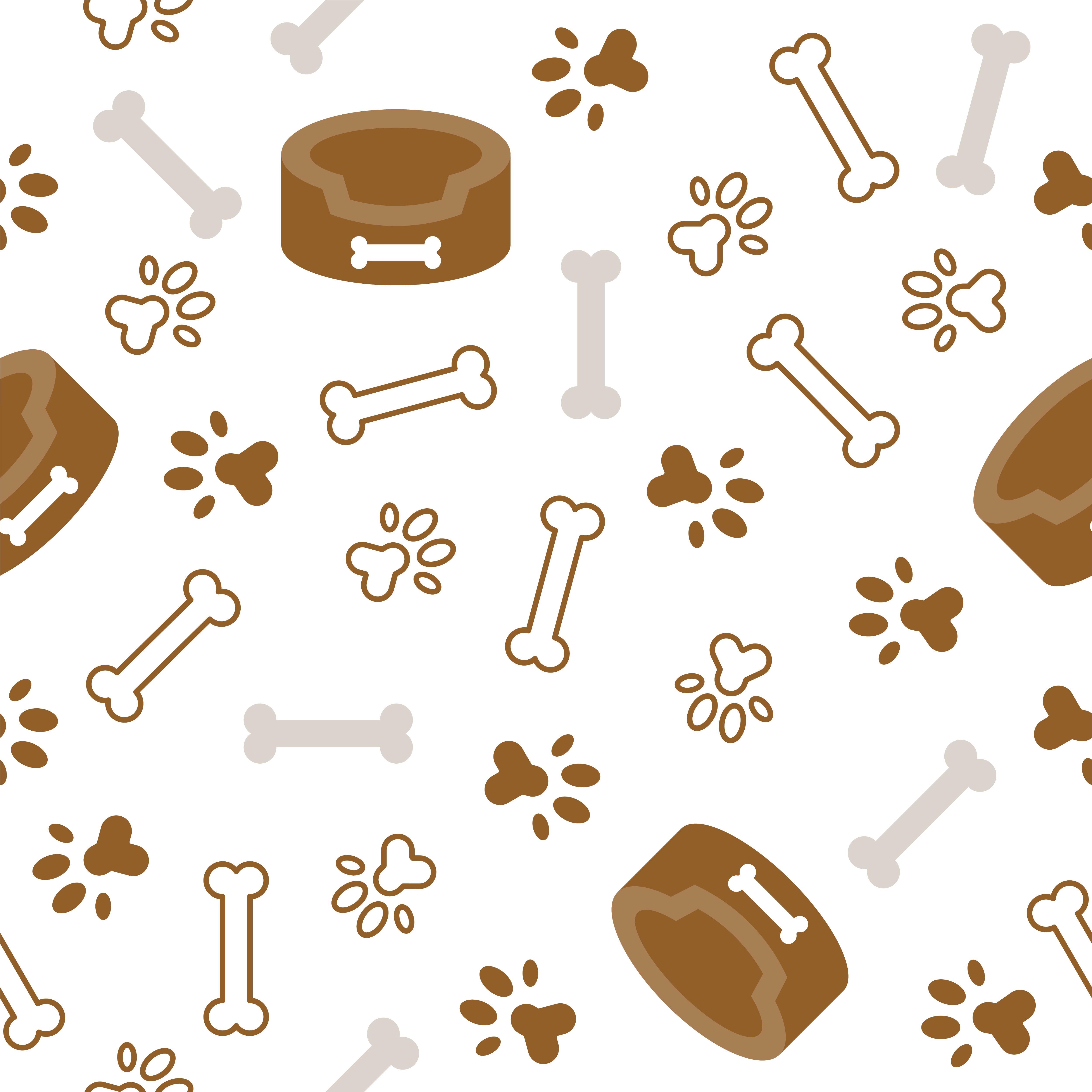 Dog Seamless Pattern Theme, Bone, Paw Foot Print For Use
