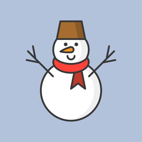pupazzo di neve, icona di contorno pieno per tema natalizio vettore