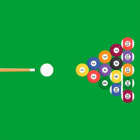 Billiard ball icon and cue stick, flat design for use as poster or flyer background