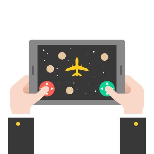 mano di affari che tiene compressa giocando gioco di astronave, falt design