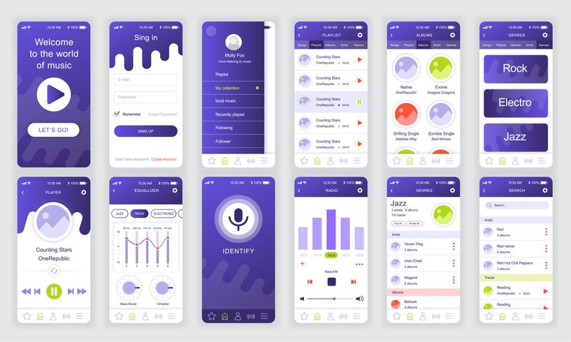 Set of UI, UX, GUI screens Music app flat design template